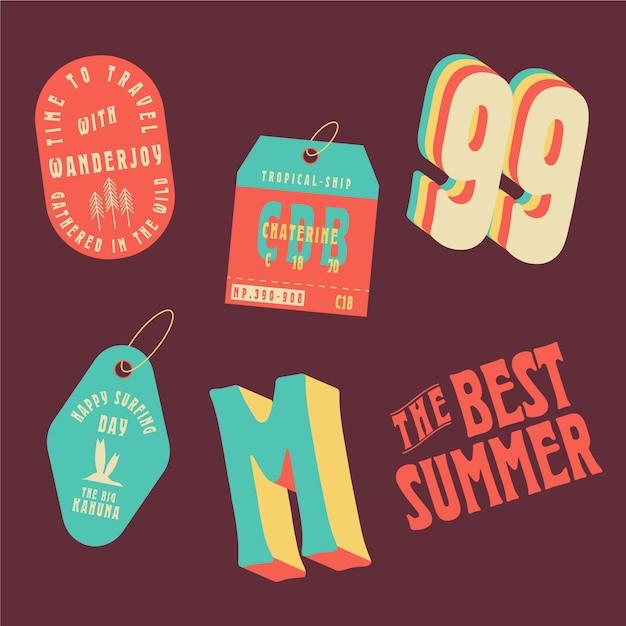 Os melhores adesivos estilo verão dos anos 70 Vetor grátis