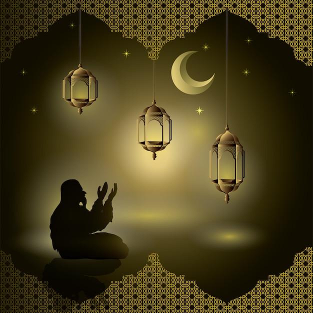 Os muçulmanos rezam à noite com brilhos e lanternas, lua, estrelas para cartão Vetor Premium