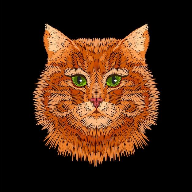 Os olhos verdes listrados alaranjados vermelhos do gato enfrentam a cabeça. Vetor Premium