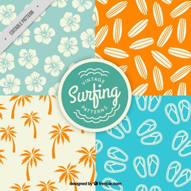 Os padrões de elementos de surf embalar Vetor grátis