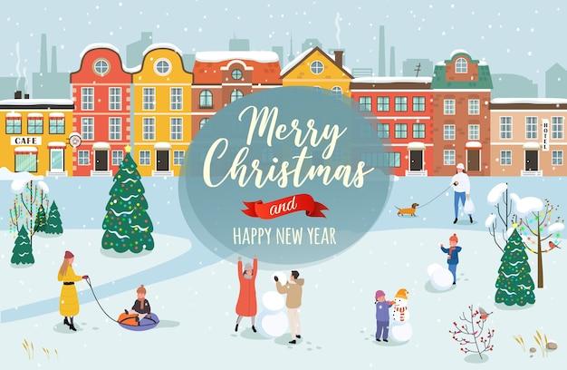 Os parabéns do feliz natal e um próspero ano novo. Vetor Premium