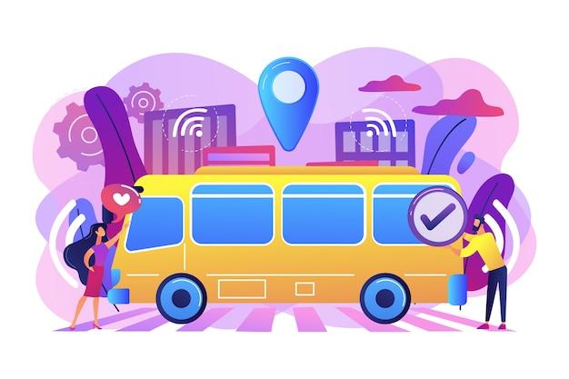 Os passageiros gostam e aprovam a ilustração de ônibus robótico sem motorista autônomo Vetor grátis