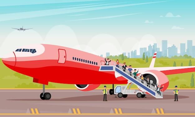 Os passageiros rastejam para fora a ilustração lisa da escada. Vetor Premium