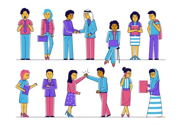 Os povos multiculturais do escritório team junto, conceito moderno da sociedade da ilustração da linha da amizade e da parceria. Vetor Premium