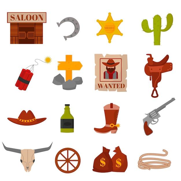 Os projetos ocidentais velhos americanos do vintage assinam e os ícones do vetor do vaqueiro dos gráficos. Vetor Premium