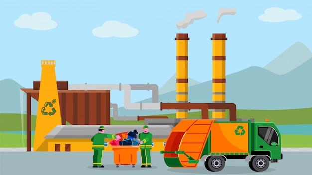 Os resíduos reciclam a planta, ilustração. conceito de indústria de reciclagem de lixo, pessoas perto de caminhão com lixo dos desenhos animados. Vetor Premium