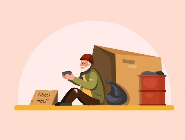 Os sem-teto precisam de ajuda, pobre velho sentado na rua esperando pessoas para ajudar. ilustração plana dos desenhos animados Vetor Premium