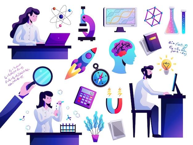 Os símbolos da ciência abstraem ícones coloridos com jovem pesquisador atrás do microscópio de modelo de átomo de computador isolado Vetor grátis