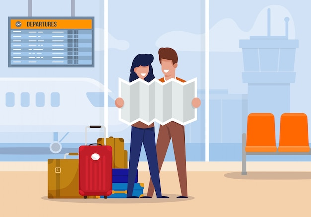 Os turistas da ilustração exploram a rota no aeroporto. Vetor Premium