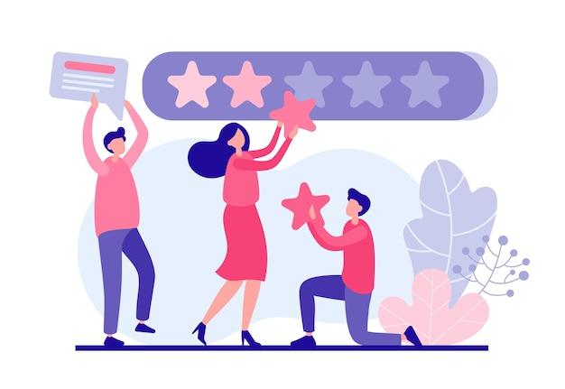 Os usuários avaliam o conceito online do aplicativo. personagens masculinos e femininos anexam painel da web de lojas de estrelas vermelhas de qualidade. avaliação do serviço de qualidade e feedback positivo do serviço de suporte e marketing Vetor Premium