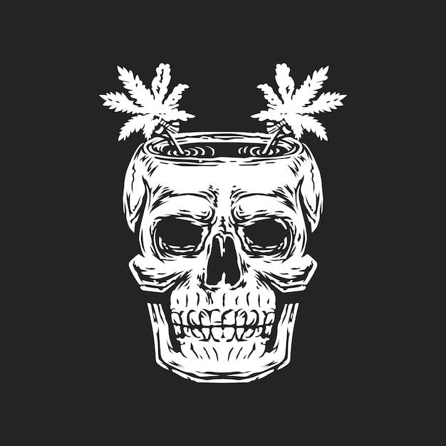 Osso de crânio com logotipo de cannabis na cabeça. Vetor Premium