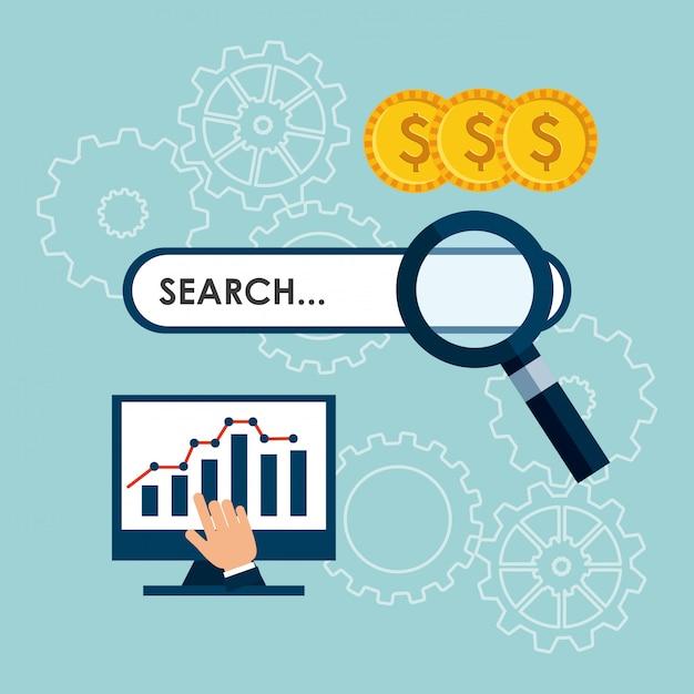 Otimização de mecanismos de busca Vetor Premium