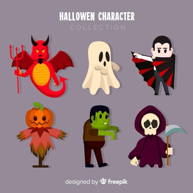 Ótimo conjunto de personagens de halloween com design plano Vetor grátis