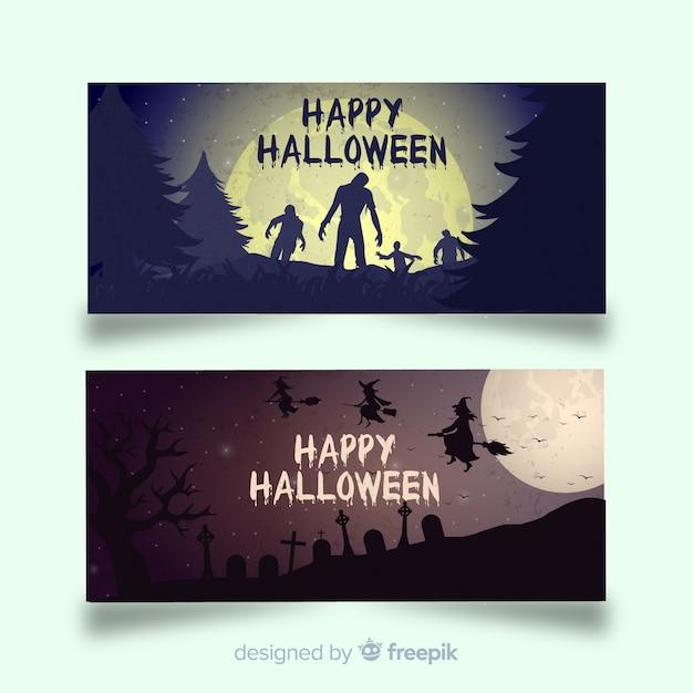 Ótimos banners de halloween com design plano Vetor grátis