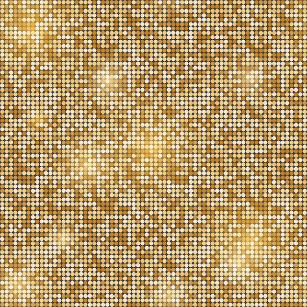 Ouro brilhante redondo fundo sem emenda de mosaico Vetor Premium