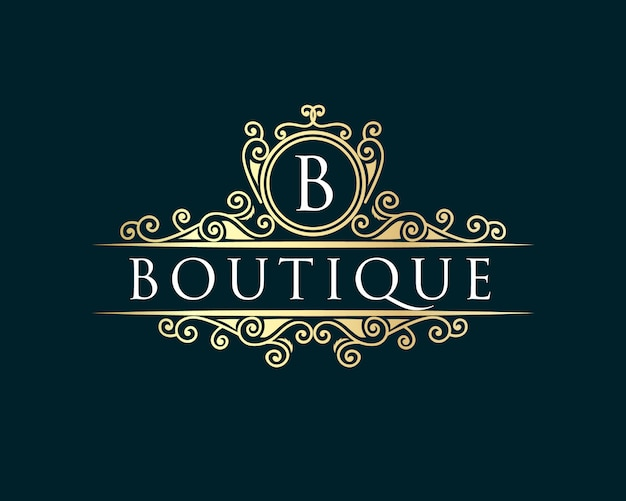 Ouro caligráfico feminino floral desenhado à mão monograma heráldico antigo estilo vintage design de logotipo luxuoso adequado para hotel restaurante café cafeteria spa salão de beleza boutique de luxo cosmético Vetor Premium