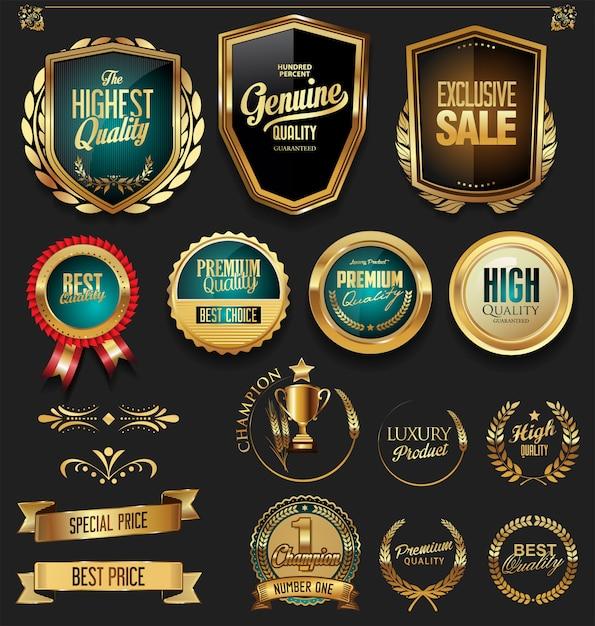 Ouro de luxo e coleção de elementos de design preto Vetor Premium