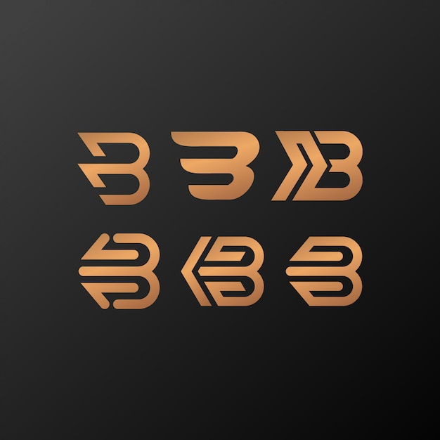 Ouro do logotipo b Vetor Premium