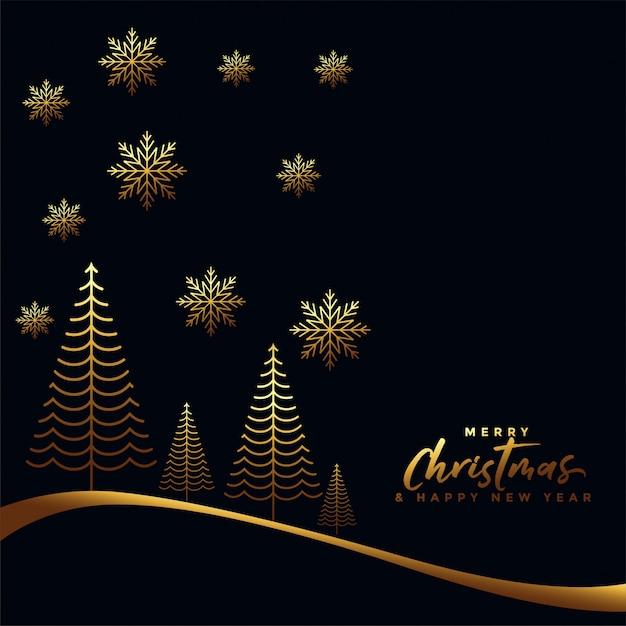Ouro e fundo preto feliz natal Vetor grátis