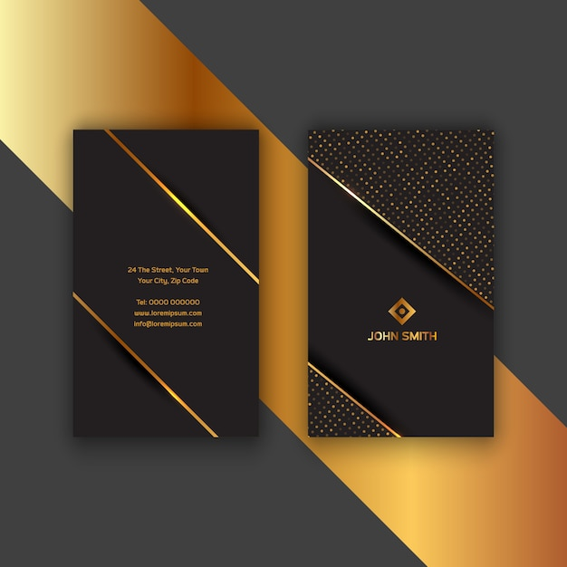 Ouro elegante e cartão preto Vetor grátis
