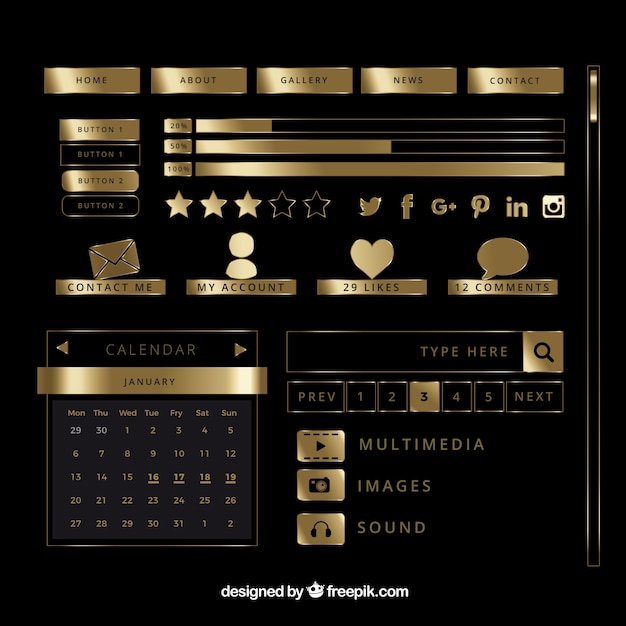 Ouro elementos brilhantes blog criado Vetor grátis
