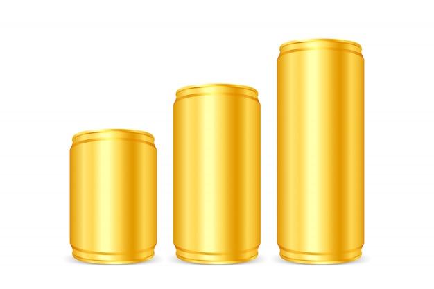 Ouro enlatado, latas de ferro douradas, conjunto de cerveja de ouro metálico em branco ou latas de refrigerante isoladas Vetor Premium