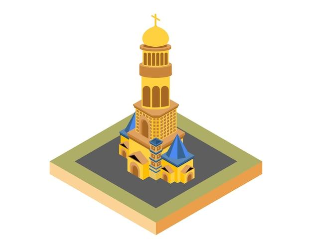 Ouro isométrica da igreja, ilustração vetorial Vetor Premium
