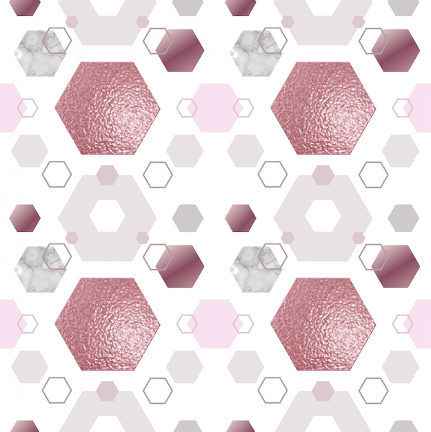 Ouro mármore rosa padrão sem emenda Vetor Premium