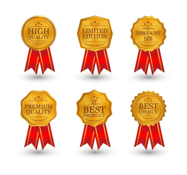 Ouro, prata, bronze, medalhas com fitas Vetor Premium