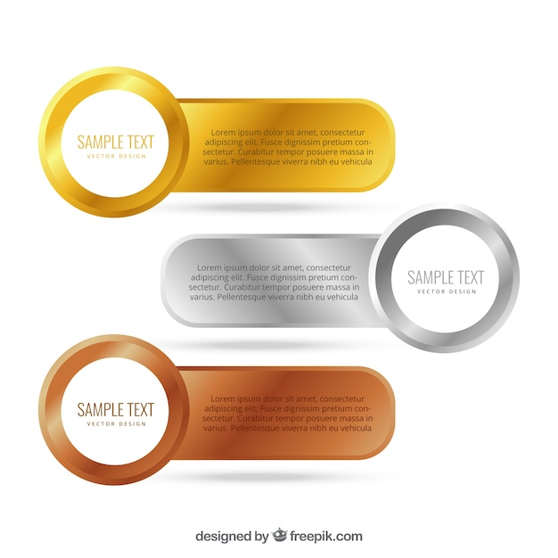 Ouro, prata e bronze banners Vetor grátis