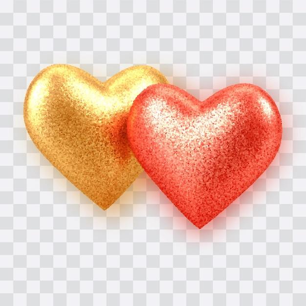 Ouro realista 3d abstrato e corações de balão vermelho com textura de glitter isolada em transparente. Vetor Premium