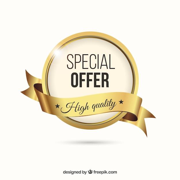 Ouro rótulo especial oferta Vetor grátis