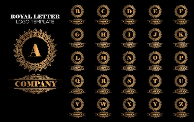 Ouro royal luxury logo template vector Vetor Premium