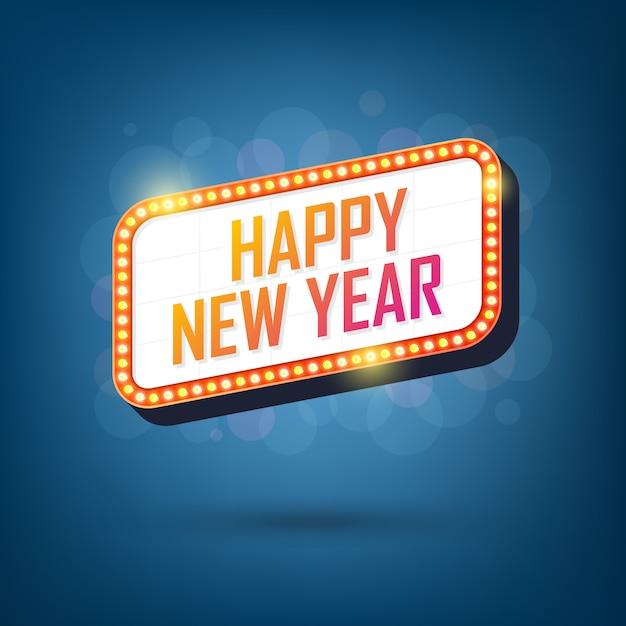 Outdoor de lâmpadas elétricas de feliz ano novo quadro de luz retrô Vetor Premium