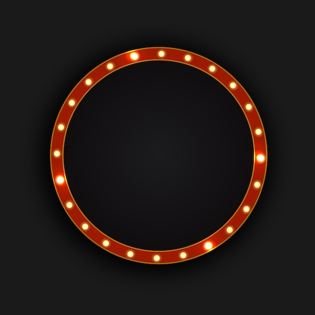 Outdoor realista círculo retro neon sobre o fundo escuro. modelo para decoração vintage e quadro indicador. Vetor Premium