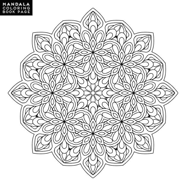 Outline Mandala para colorir livro. Ornamento redondo redondo. Padrão de terapia anti-stress. Weave elemento de design. Logotipo yoga, fundo para poster de meditação. Forma de flor incomum. Vetor oriental. Vetor grátis