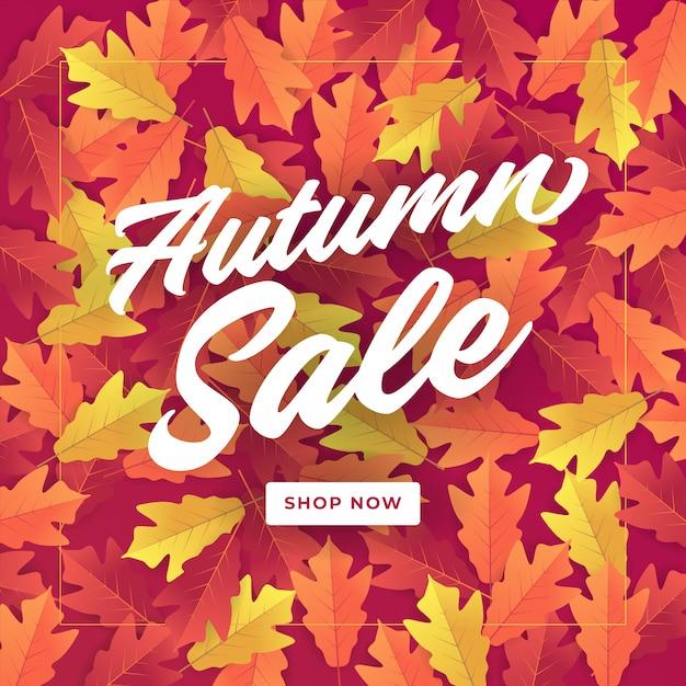 Outono banner de venda para venda de compras. Vetor Premium