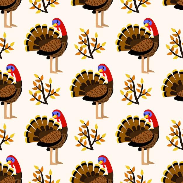 Outono bonito padrão sem emenda com pássaros da turquia Vetor Premium