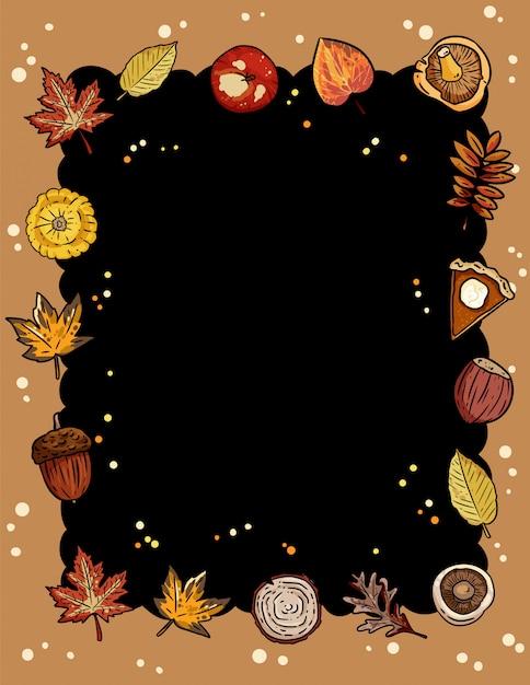 Outono bonito quadro acolhedor com quadro de elementos da moda outono Vetor Premium