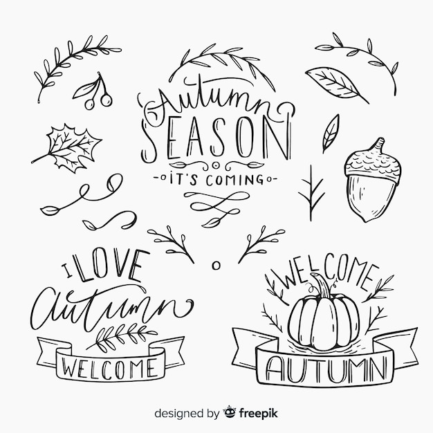 Outono caligráfico conjunto manuscrito Vetor grátis