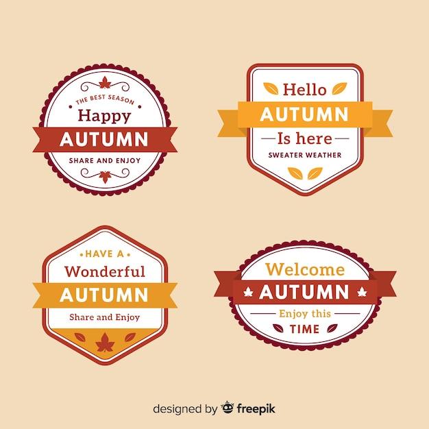Outono coleção de distintivos estilo plano Vetor grátis