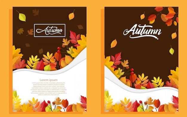 Outono com folhas bonitas. Vetor Premium