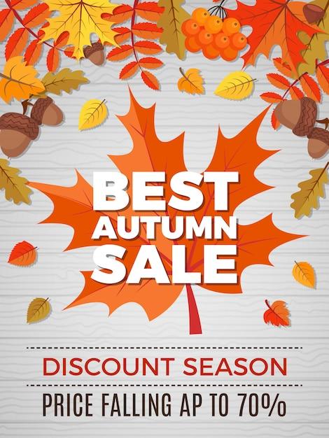 Outono comprovante de vendas, folhas de laranja e amarelo cai da natureza outono banner de desconto Vetor Premium
