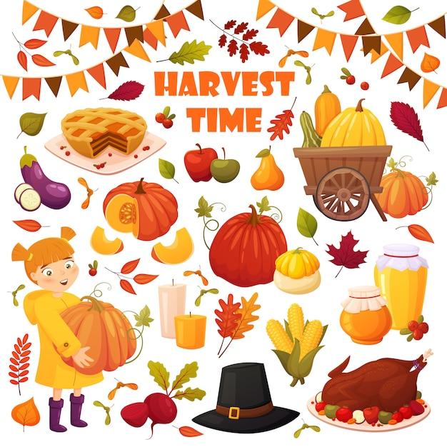 Outono conjunto com elementos diferentes do vetor: legumes, abóboras, torta, potes de mel, turquia, chapéu e folhas. Vetor Premium