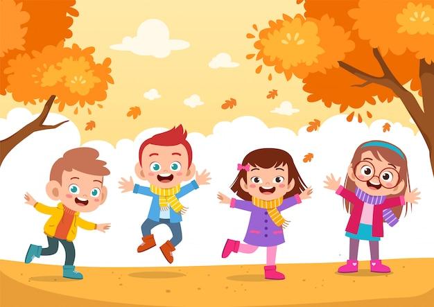 Outono de crianças felizes Vetor Premium