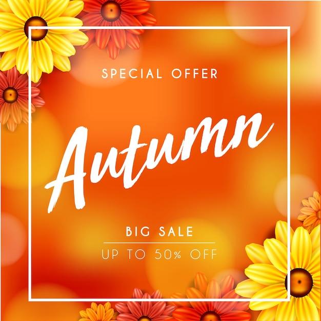 Outono flor amarela sazonal venda banner backgrounds Vetor Premium