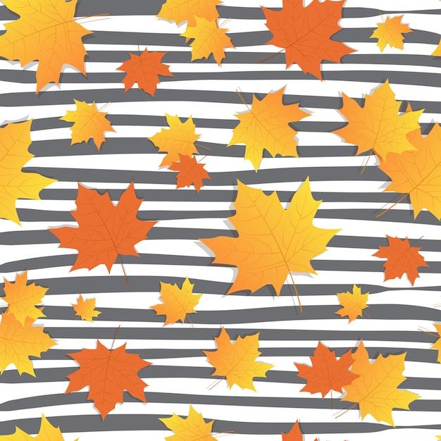 Outono fundo amarelo maple leaves fall season Vetor Premium