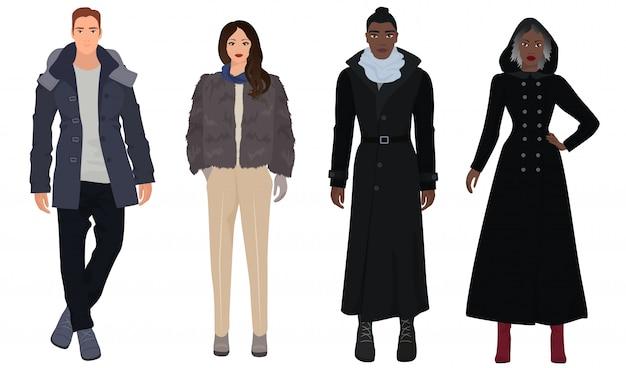 Outono inverno moda elegante pessoas Vetor Premium