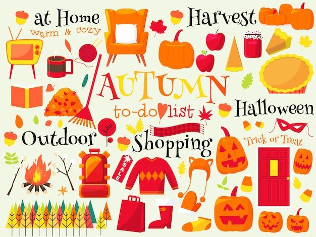 Outono lista de tarefas, ilustração de outono Vetor Premium
