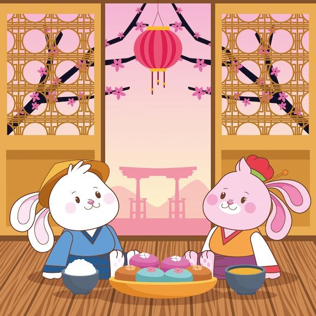 Outono mid cartoon festival chinês Vetor Premium